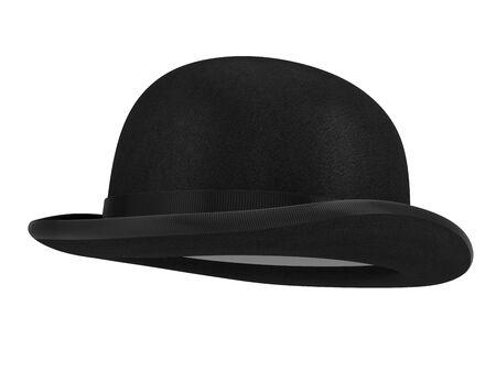 Stylish black bowler hat sur fond blanc - 3d render Banque d'images