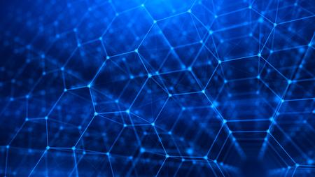 Concept of Network, internet communication - 3d hexagonal grid background. 3d illustration