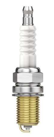 New Spark plug isolated on white background. 3d render Stock Photo