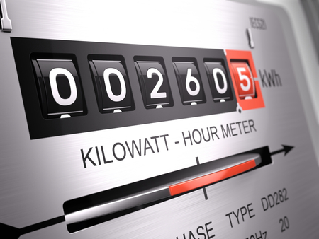 Kilowattuur elektrische meter, voedingsmeter - close-up weergave. 3D-rendering Stockfoto