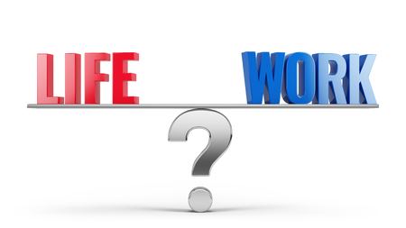work life balance: Work Life Balance Concept - Work and Life words on scales. 3d illustration Stock Photo