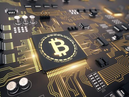 Bitcoin concept - Printed circuit board with bitcoin processor and microchips - 3d illustration