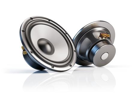 acoustics: Sound audio loudspeakers isolated on white background - 3d illustration Stock Photo