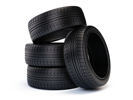 tire tracks: Stack of new car tires. Tires isolated on white background - 3d render