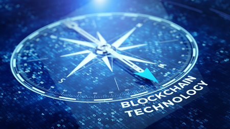 Block chain network concept - Compass needle pointing Blockchain technology word. 3d rendering 写真素材