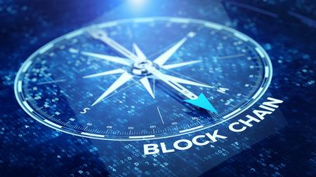 Concepto de red de cadena de bloque - aguja de la brújula que señala la palabra de Blockchain. Representación 3D Foto de archivo