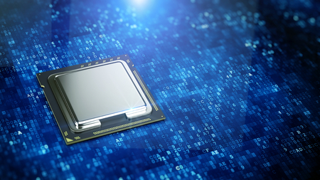 Central Computer Processor on blue digital code background - CPU concept. 3d rendering Stock Photo