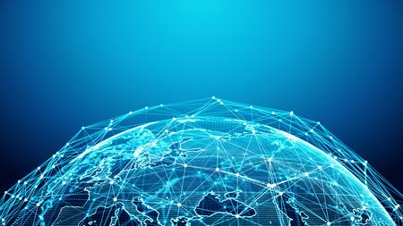 Concept of Network, internet communication. 3d rendering