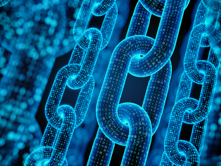 Block chain concept - digital code chain. 3d rendering Standard-Bild