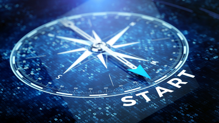 Start, startup tecnology concept - Compass needle pointing start word. 3d rendering
