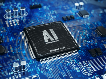AI, Artificial Intelligence concept - Computer chip microprocessor with AI sign and binary code. 3d rendering Foto de archivo