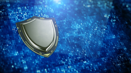 Cyber security, information privacy concept - Shield shaped processor on digital data background. 3d rendering