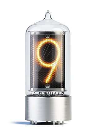 Nixie tube indicator isolated on white - set of decimal digits. 3d rendering