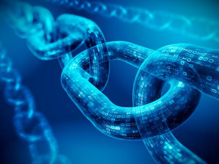 Concetto di blocco catena - catena di codice digitale. Rendering 3d