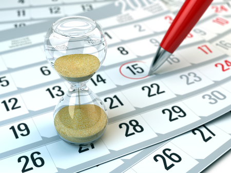 Concept of Time, calendar, organizing - 3d rendering of Hourgalss and red pen on calendar