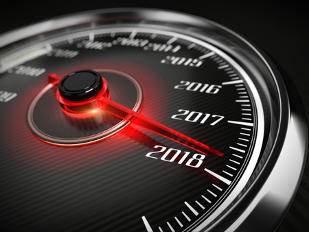 2018 year car speedometer concept. 3d rendering 写真素材