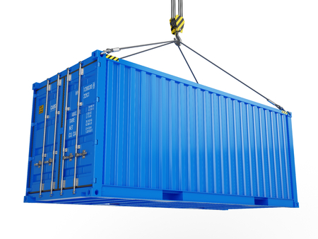 Delivery, cargo, shipping concept - blue cargo container hoisted by crane hook isolated on white. 3d illustration Stock Photo