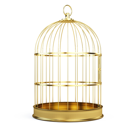 Golden bird cage isolated on white background. 3d illustration