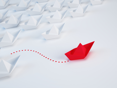 Business solution, innovation unique concept - Group of paper ship and one red ship with different way. 3d illustration