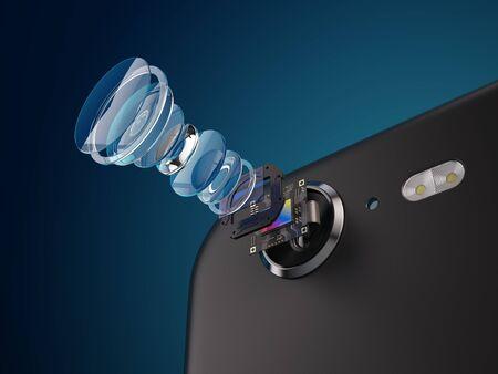 スマートフォンのカメラ構造の近代的なレンズ。スマートフォンのカメラコンセプトの新機能。3Dイラスト