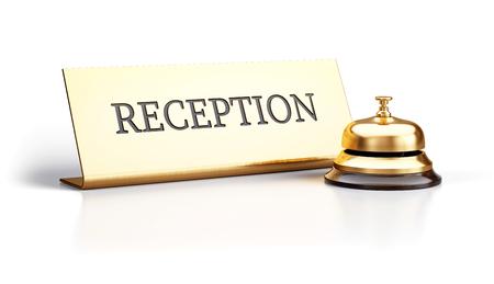 Cloche de réception dorée et signe de réception isolé sur fond blanc - rendu 3d Banque d'images - 94728425