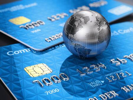 Cartes de crédit et globe. Rendu 3d Banque d'images - 94728437
