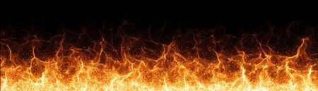 Fire flames on black background - 3d rendering Stock Photo