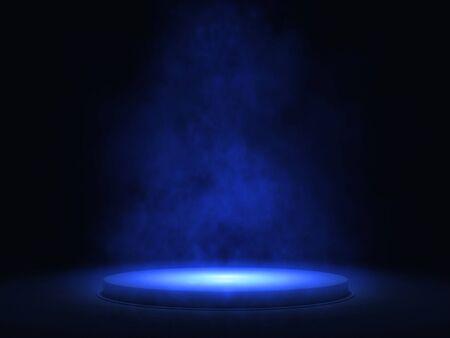 Scène vide avec podium, projecteur bleu et fumée - rendu 3d Banque d'images - 94728441