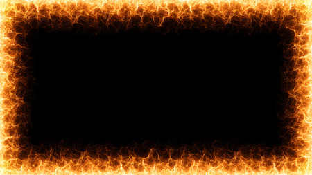 Fire flames frame on black background - 3d rendering