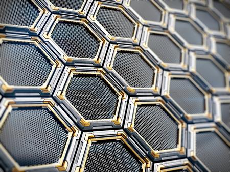 Fond de technologie métal géométrique hexagone. Illustration 3d Banque d'images - 94816429
