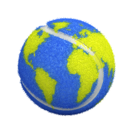 Tennis ball with world map isolated on white - 3d render Stock Photo