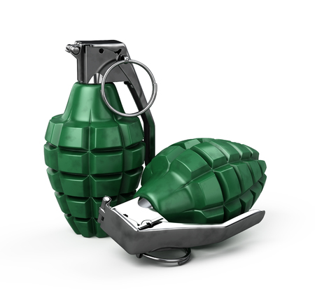 Two MK-2 hand grenade isolated on white Stock Photo