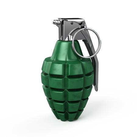 Grenade grenade main isolé sur blanc Banque d'images - 97519383
