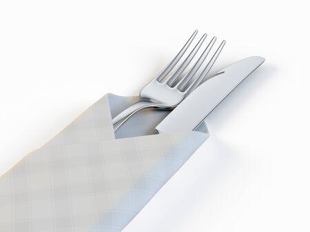 Fourchette et couteau isolé sur fond blanc Banque d'images - 97501263