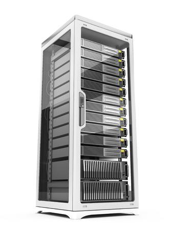 Rack serveur isolé sur fond blanc Banque d'images - 97502486