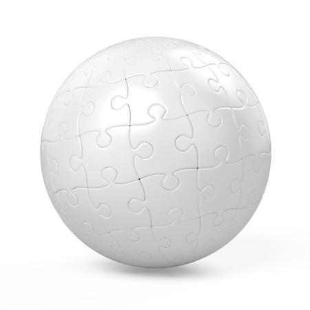 Sphère blanche recueillies de puzzle Banque d'images - 97485975