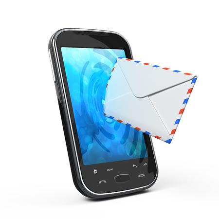 Smartphone et enveloppe - sms et le concept e-mail Banque d'images - 97521577