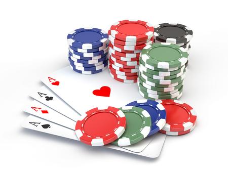 Jetons de jeu et cartes à jouer isolé sur blanc Banque d'images - 98146760