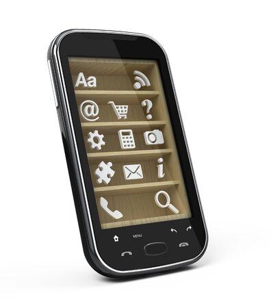 Smartphone smartphone avec application icônes sur les tablettes Banque d'images - 98146772