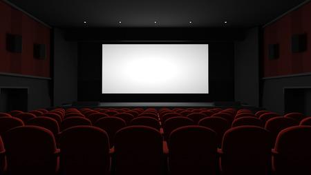 Auditorium de cinéma avec écran blanc Banque d'images - 98146769
