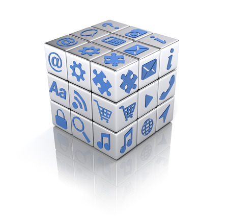 Cube d & # 39 ; applications icônes isolé sur blanc - applications notion Banque d'images - 98146777
