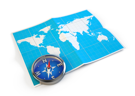 Navigation concept - Compass and world map Stock Photo