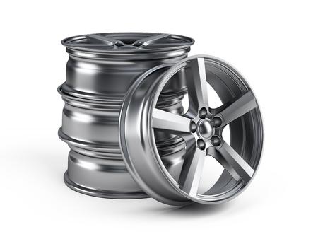 Roues de roues de voiture isolé sur blanc Banque d'images - 98146783