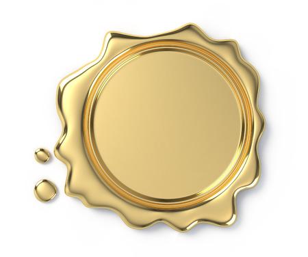 Sceau de cire or sur fond blanc Banque d'images - 98146787