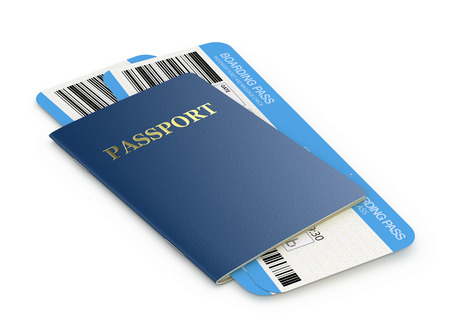 Passport and airline boarding pass tickets Banque d'images - 122856136