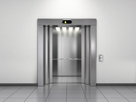 Moderne lift met open deuren Stockfoto