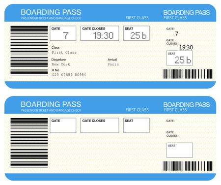Billetes de la tarjeta de embarque de la aerolínea
