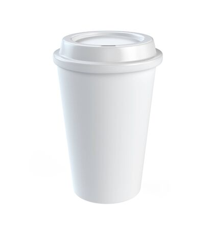 Disposable coffee cup isolated on white background