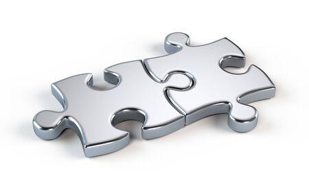 Two metal puzzle - partnership concept Banque d'images