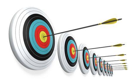 Flechas que golpean el centro de los objetivos - concepto de negocio de éxito